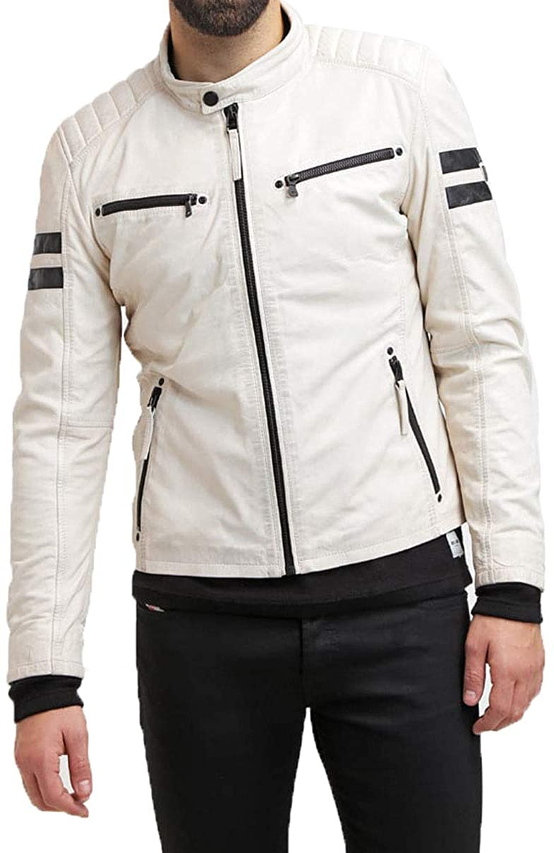 Mens Genuine Lambskin Leather Jacket MJ 451