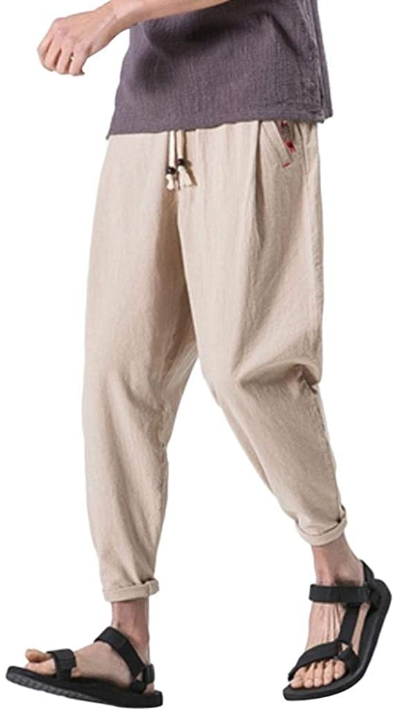 Pervobs Mens Pant, Men's Casual Slim Fit Sports Loose Harem Pants Ankle-Length Linen Trousers Baggy Pants