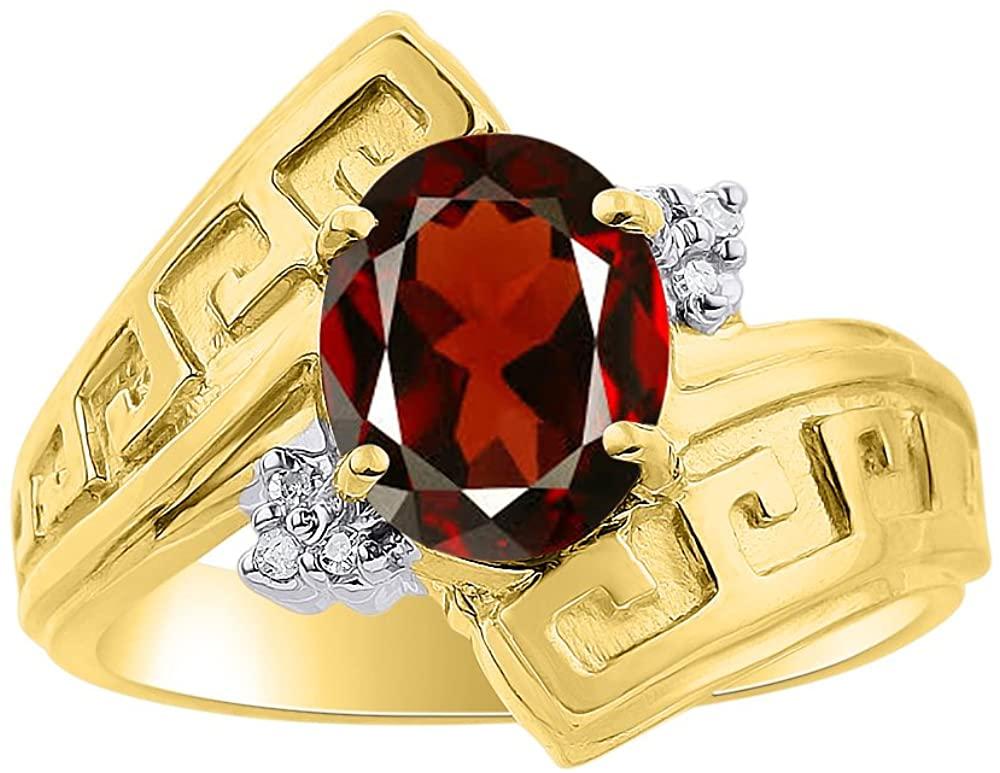 Diamond & Garnet Ring Set In 14K Yellow Gold - Greek Key Design - Color Stone Birthstone Ring