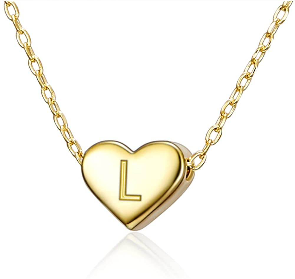 Tiny Initial Necklace for Women Girls 18K Gold Dainty Personalized Letter Alphabet Heart Pendant Choker Necklace Gift for Mom Kids Child Friend with Nice Gifts Box