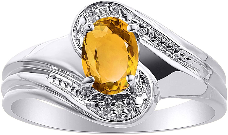 Diamond & Citrine Ring Set In 14K White Gold - Color Stone Birthstone Ring