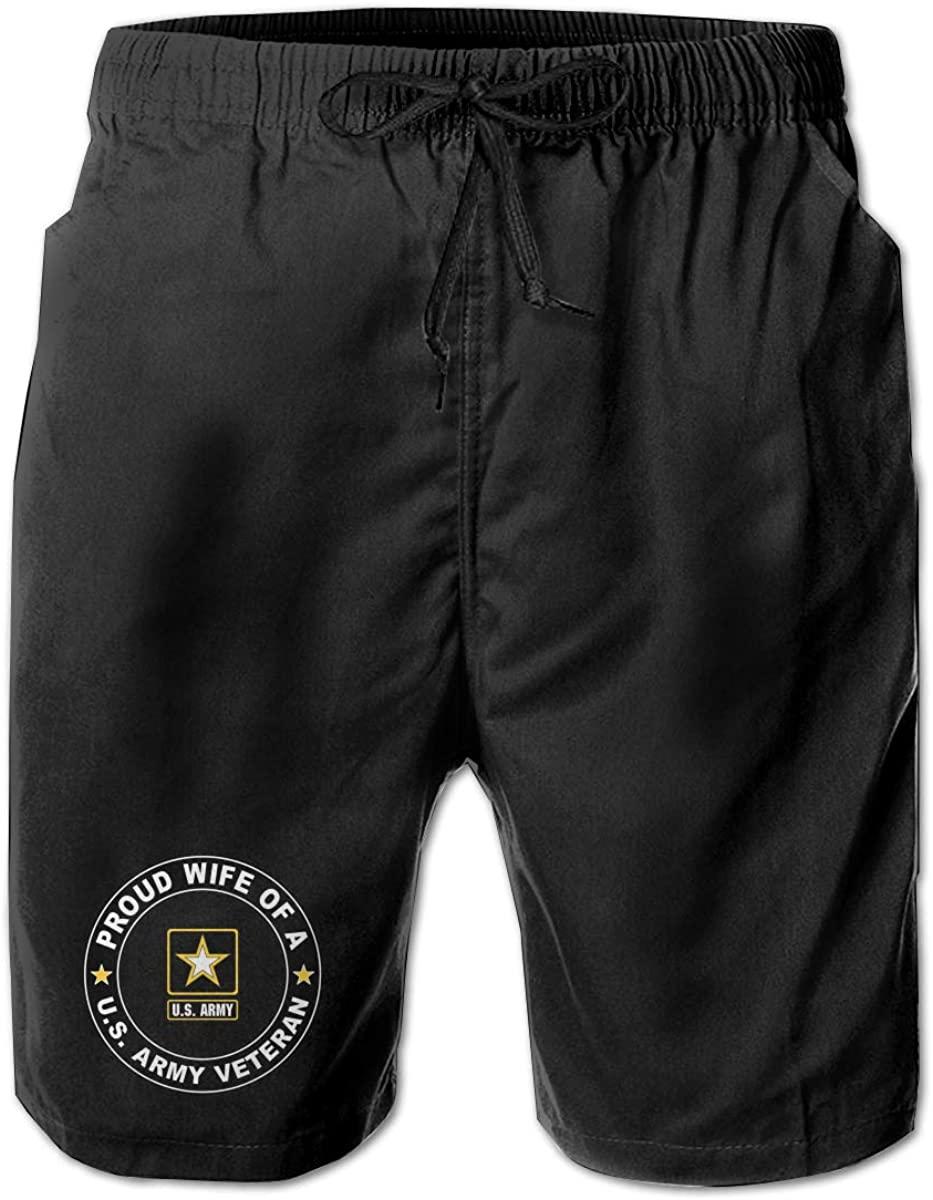 Mecoolid U.S. Army Veteran Proud Wife Mens Summer Beach Shorts,Casual Shorts Beach Shorts Swim Trunks