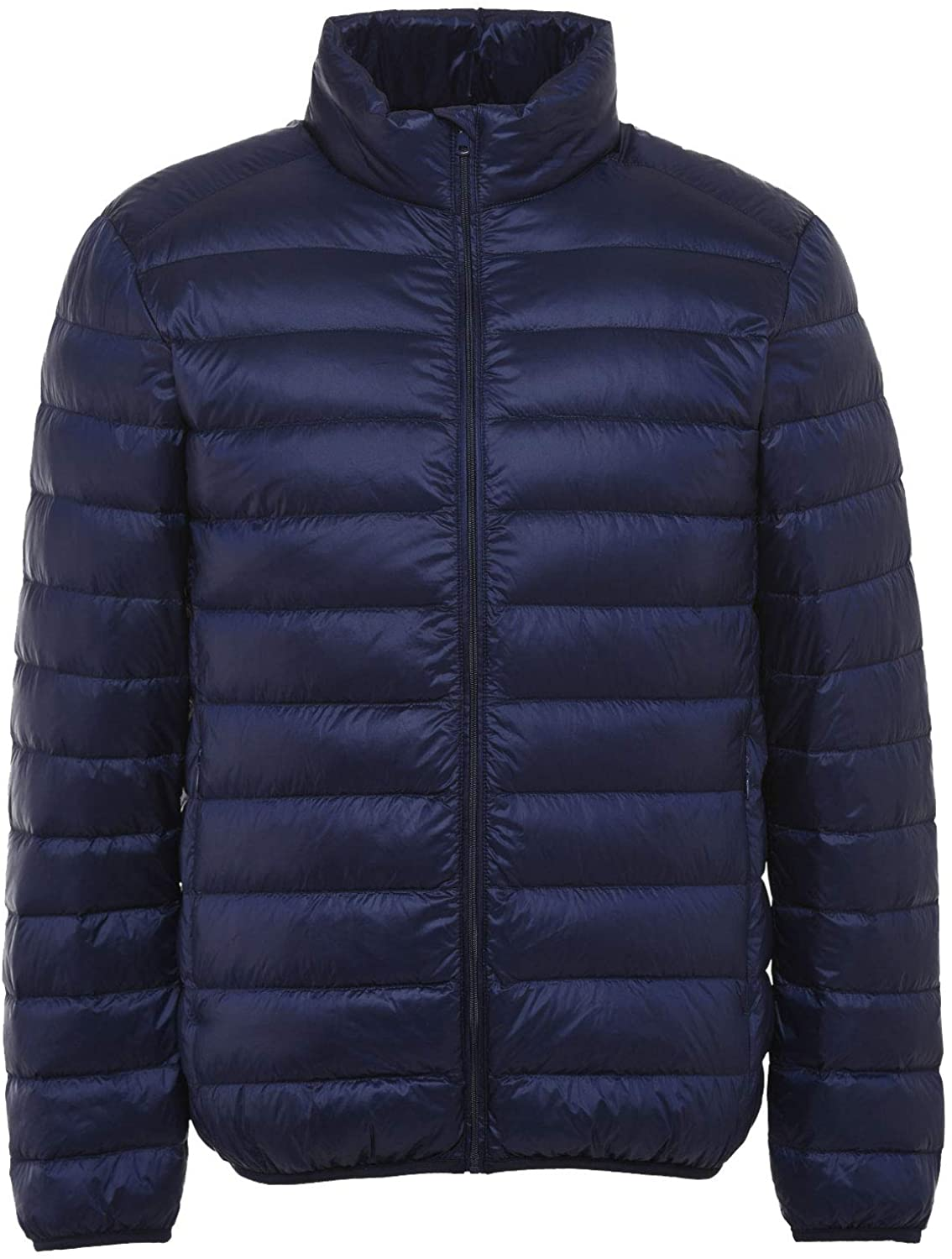 Flygo Mens Stand Collar Lightweight Down Coat Quilted Puffer Jacket Outwear