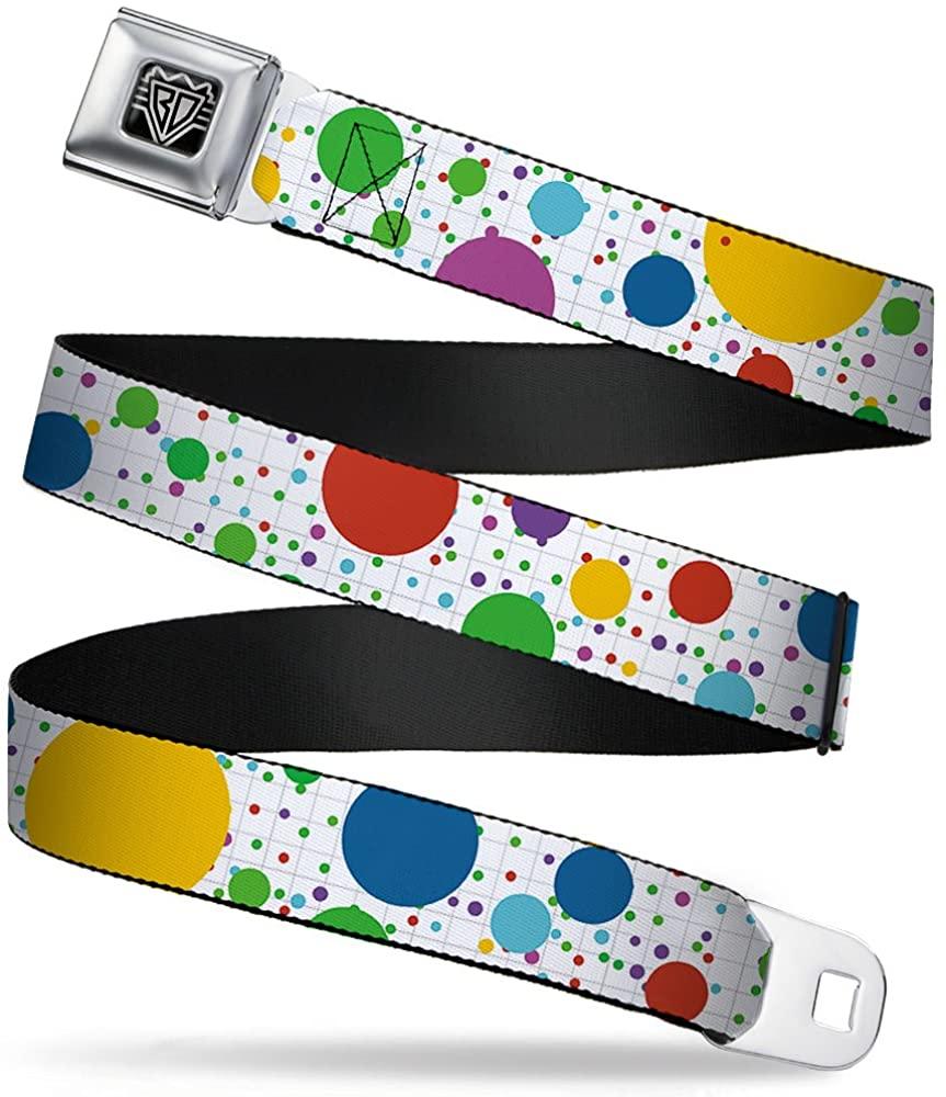 Buckle-Down Seatbelt Belt - Dots/Grid3 White/Gray/Multi Color - 1.5