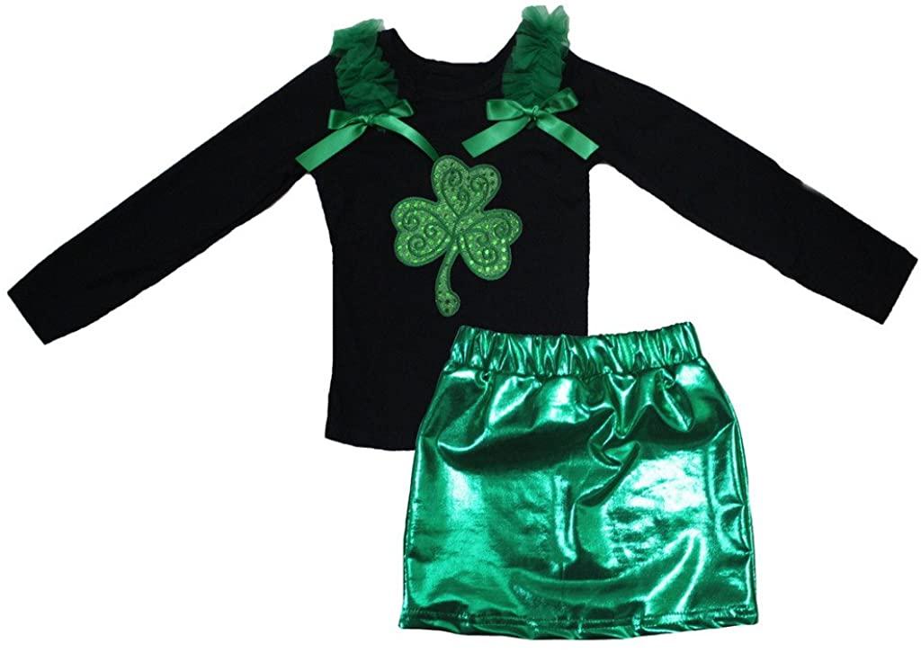 Petitebella Sequins Clover Black L/s Shirt Green Bling Skirt Set 1-8y