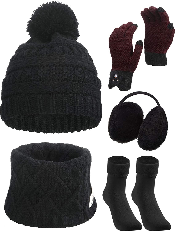 SATINIOR 5 Pieces Girl Winter Warm Knitted Hat Kids Toddler Cap Ear Muffs Gloves Socks