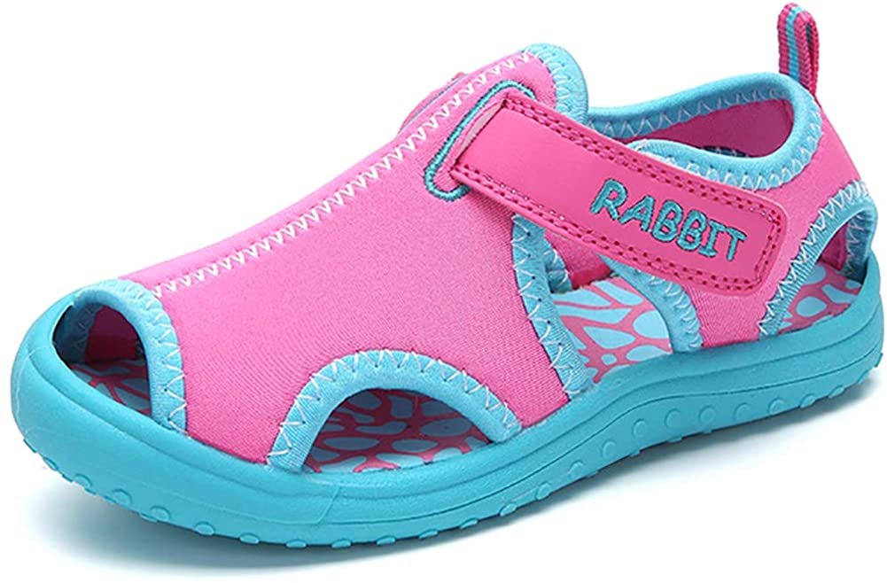 Aiminila Boys Girls Quick Dry Adjustable Aquatic Water Shoes Outdoor Walking Beach Athletic Sandals