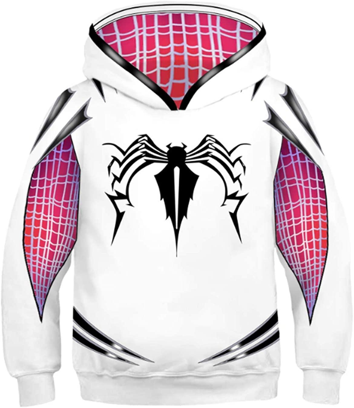 Firecos Boys Spider Hoodie Children Hoodies Youth Man Sweatshirts Spider Costume Cosplay 3D Pullover