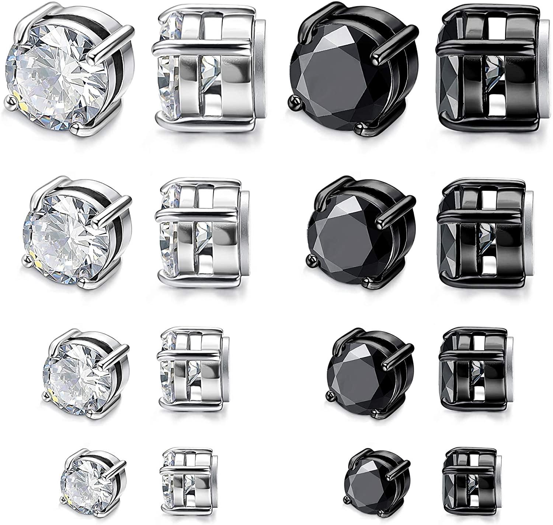FIBO STEEL 8 Pairs Stainless Steel Magnetic Stud Earrings for Men Women CZ Magnet Fake Non-piercing Earring Set 4-10mm