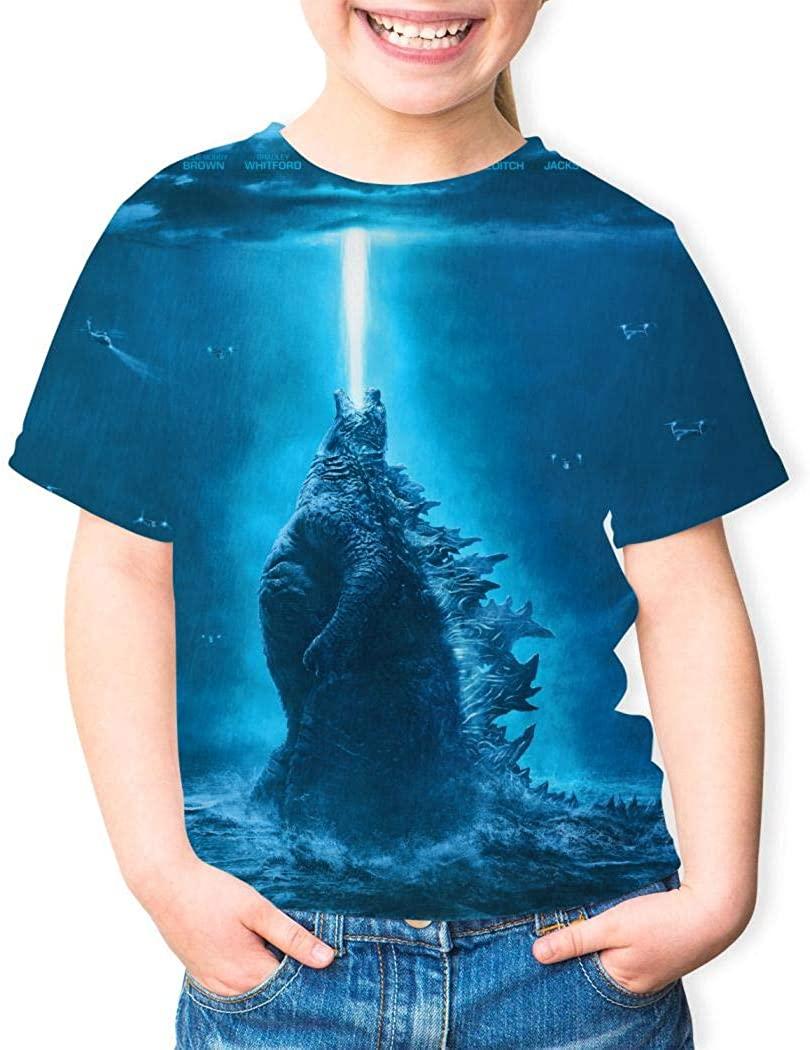 Youth Godzilla Monsters Poster Theme Round Collar Short Sleeve T- Shirt