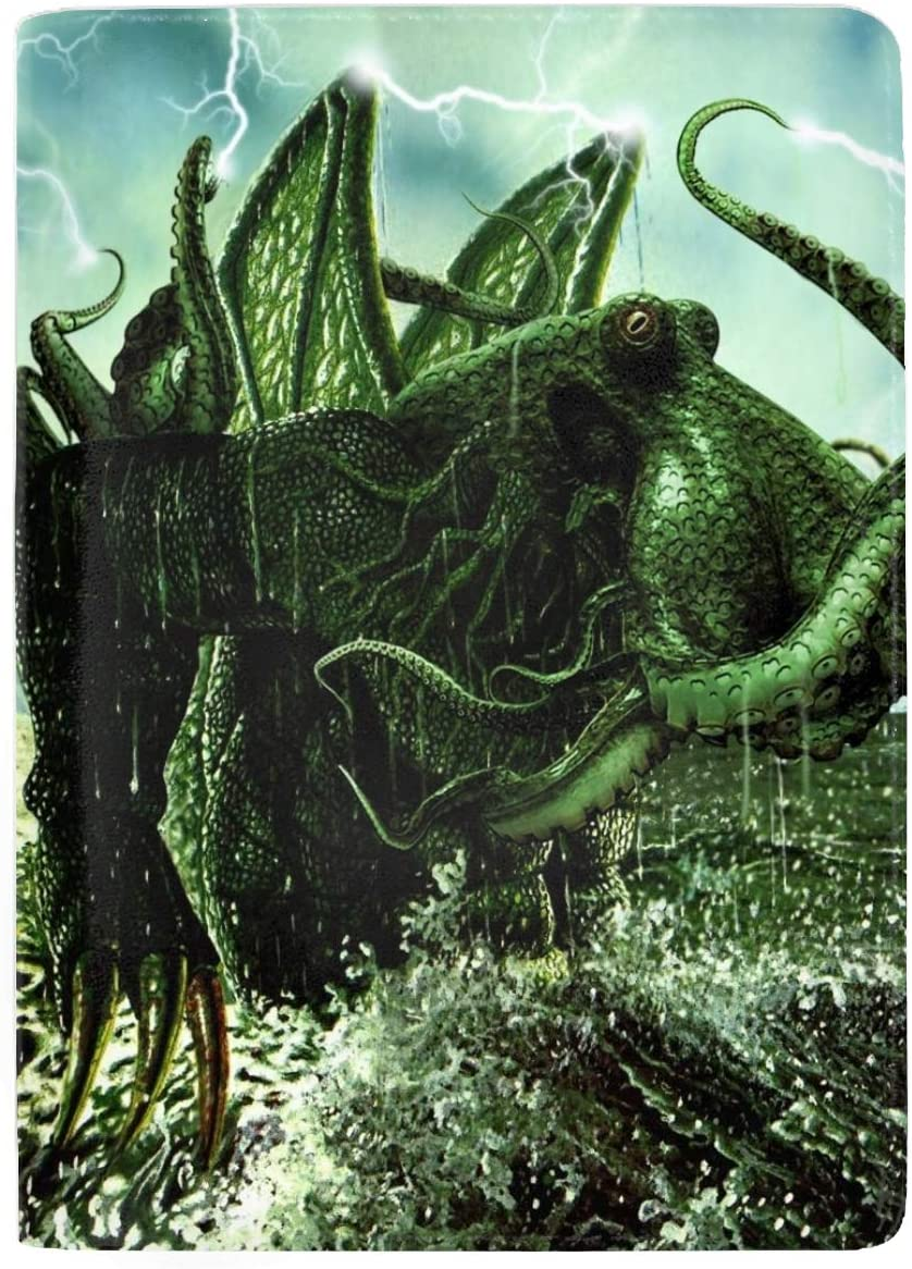 Fantasy Cthulhu Octopus Creature Passport Holder Cover Wallet RFID Blocking Leather Card Case Travel Document Organizer