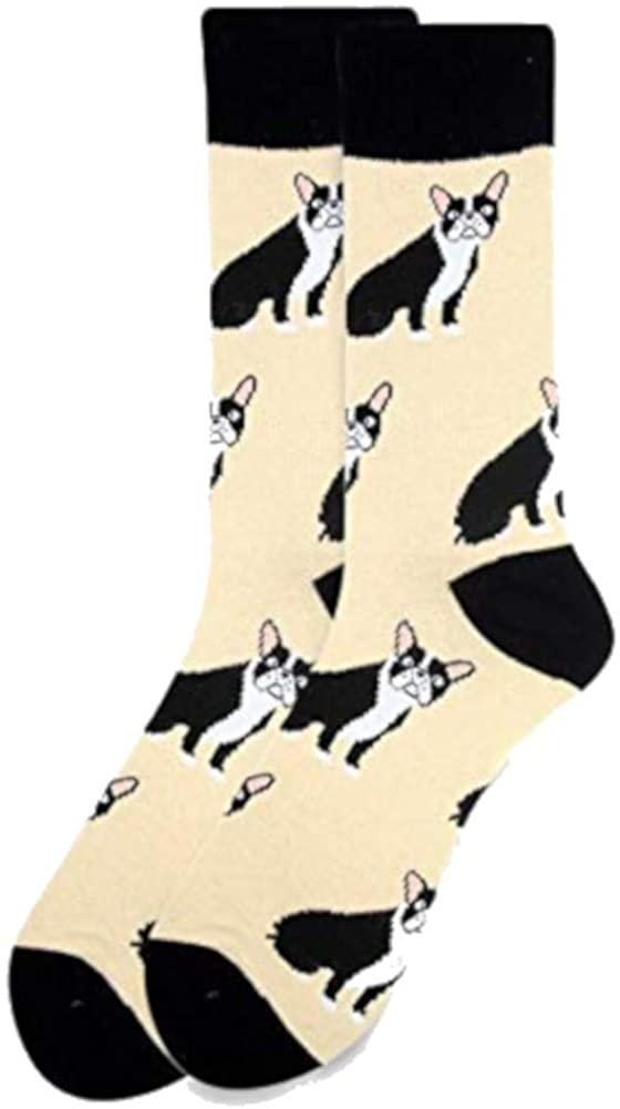 Men's French Bulldog Dog Animal Novelty Dress Crew Socks