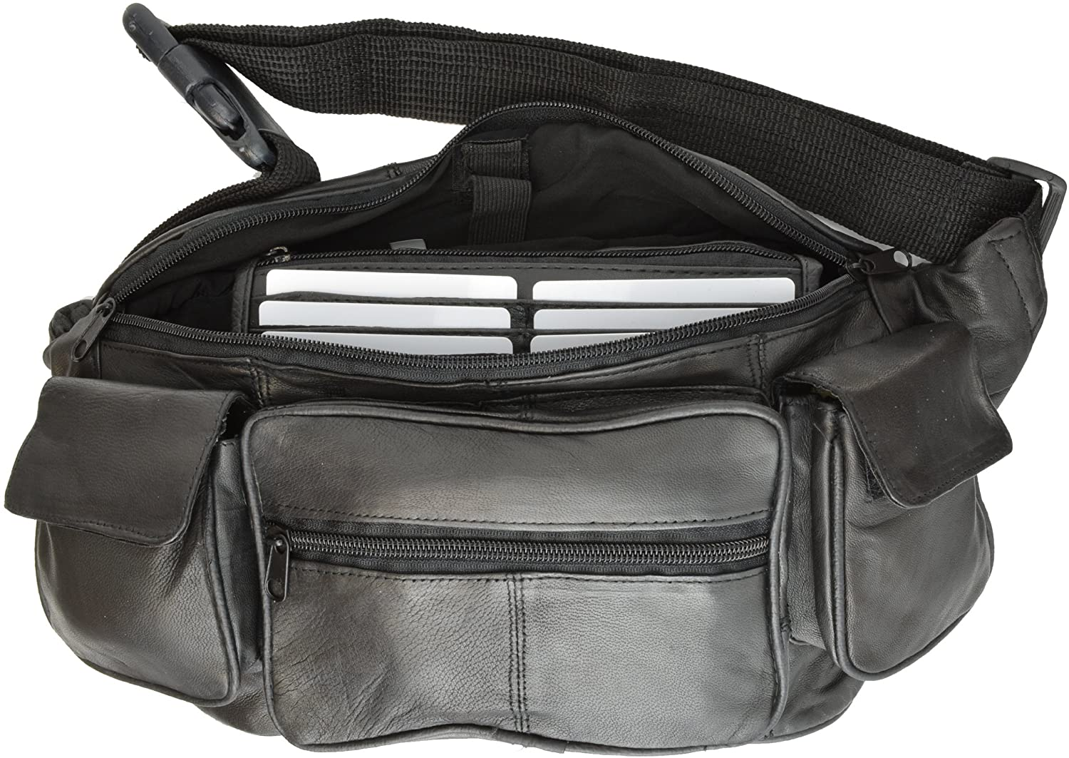 New Large Genuine Leather Waist Bag Fanny Pack with Two Cell Phone Pockets and Six Exterior Pockets