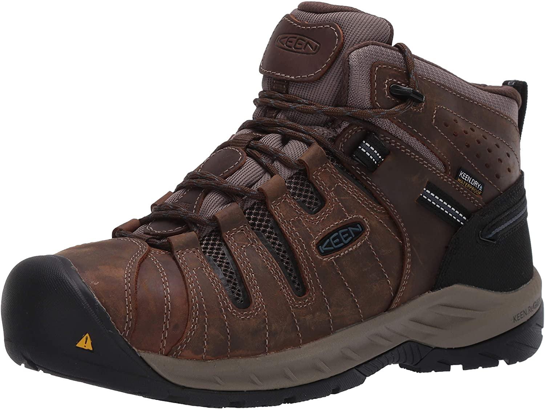 KEEN Utility Men's Flint II Mid Steel Toe Waterproof Non Slip Work Shoe Construction Shoe Cascade Brown/Orion Blue