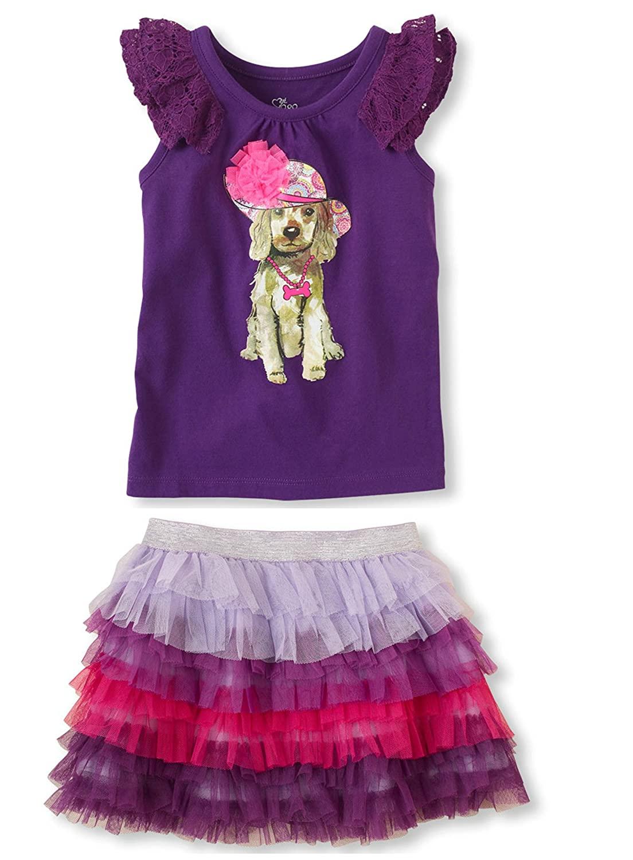 Ruffle Tutu Skirt with Matching Top (2T, Purple)