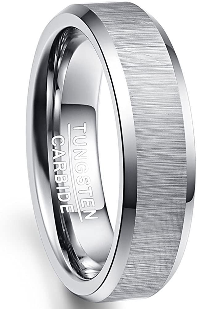 NUNCAD Unique 6mm Tungsten Carbide Ring Brushed Finish Beveled for Men and Women Free Engraving