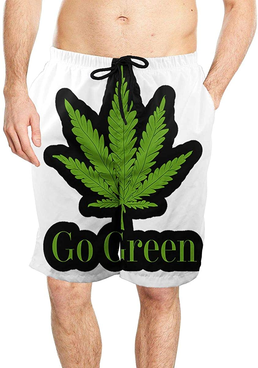 Go Green Weed Men's Seaside Beach Swim Trunks Quick-Drying Stretch Comfortable Shorts