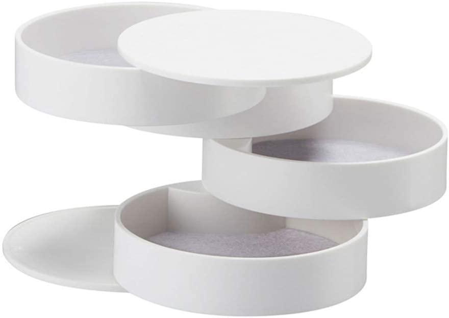 Richohome Jewelry Box Organizer 360 Degree Rotating Display Storage Case Makeup Organizer Holder with Lid, White