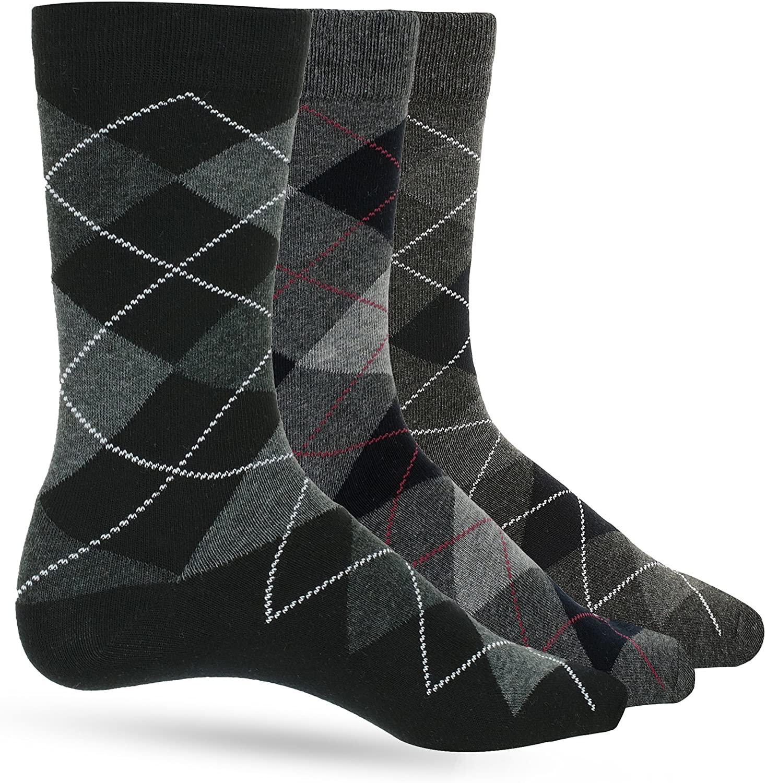 3 Pack Mens Dress Socks Premium Cotton Argyle Men's Dress Socks For Men – Colorful Fashion