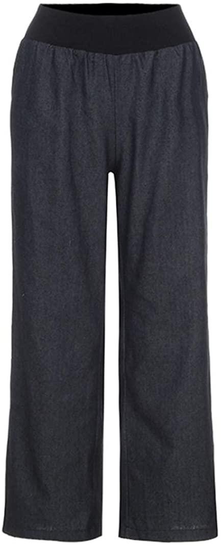 Adeliber Women Casual High Waist Elasticity Denim Wide Leg Pants Jeans Trousers