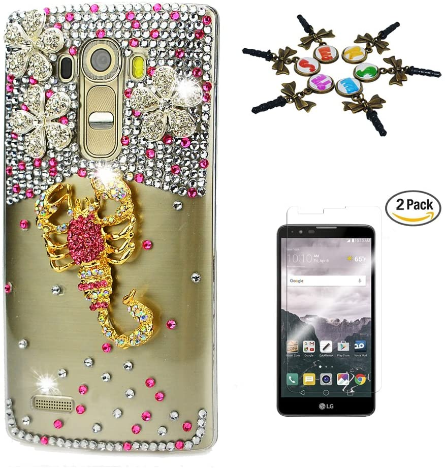 STENES LG Stylo 3 Case - 3D Handmade Luxurious Crystal Sparkle Diamond Rhinestone Cover For LG Stylo 3/Stylo 3 Plus/LG LS777 With Screen Protector & Retro Anti Dust Plug - Scorpions Flowers/Colorful