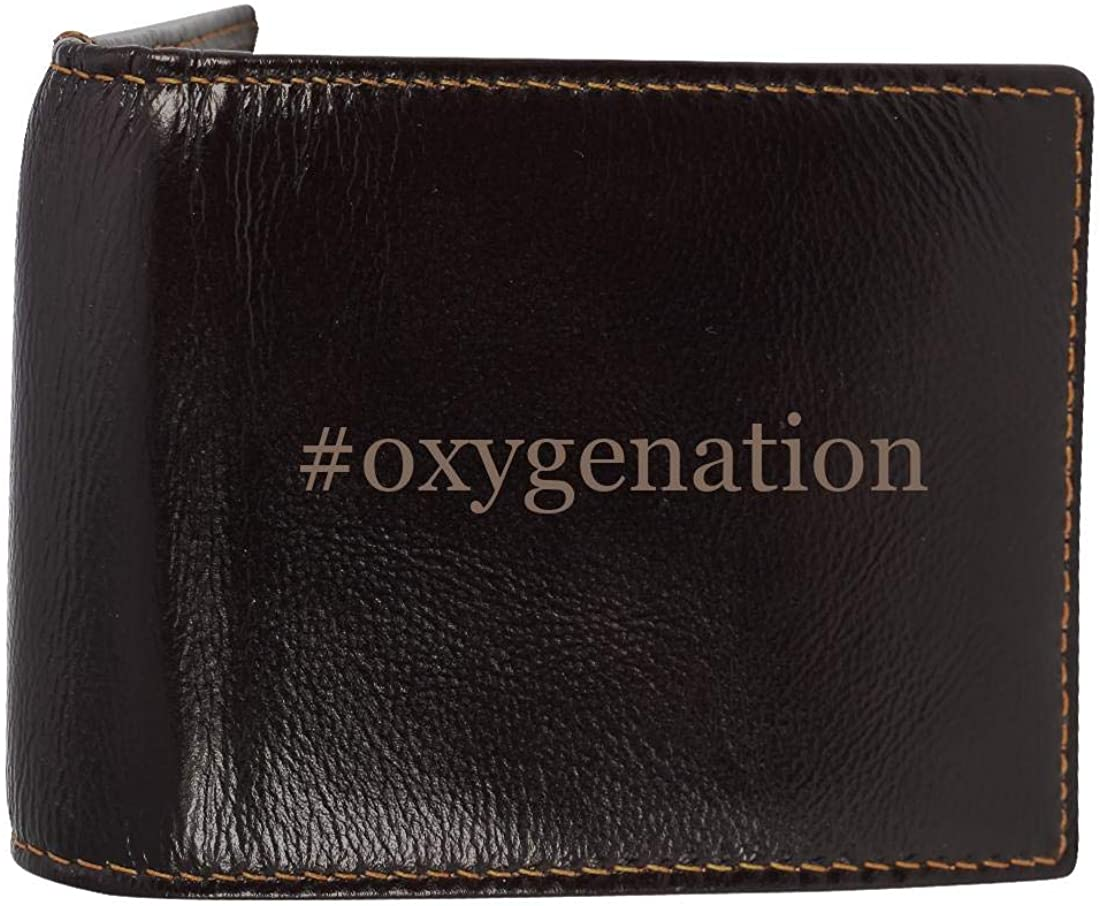 #oxygenation - Genuine Engraved Hashtag Soft Cowhide Bifold Leather Wallet