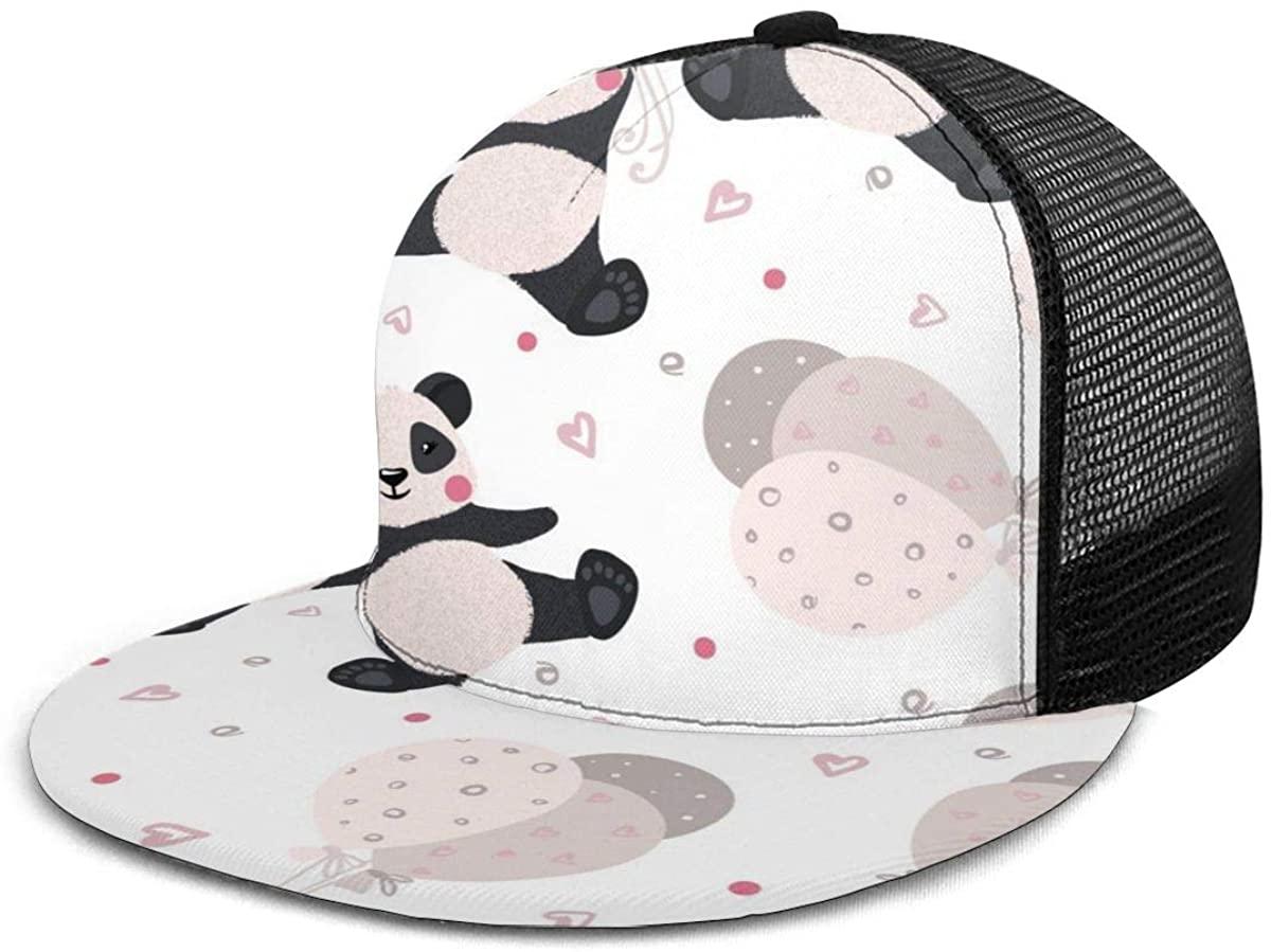 Baseball Cap Mesh Back Cute Funny Animal Panda and Balloons Adjustable Snapback Sun Trucker Hat