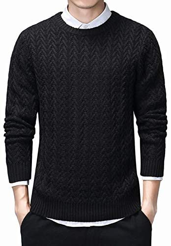 Tongxianshigaoqiaozixinbaihuoshanghang-us Sweater Men's and Winter Slim Pullover Men's Twist Braid Pattern Round Neck Brushed Men's Christmas Sweater Black 3XL (Color : Black, Size : M)