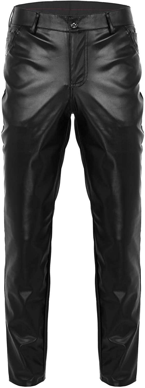 YiZYiF Men's Rock Punk Hip Hop Faux Leather Motocycle Pants Party Stage Biker Trousers