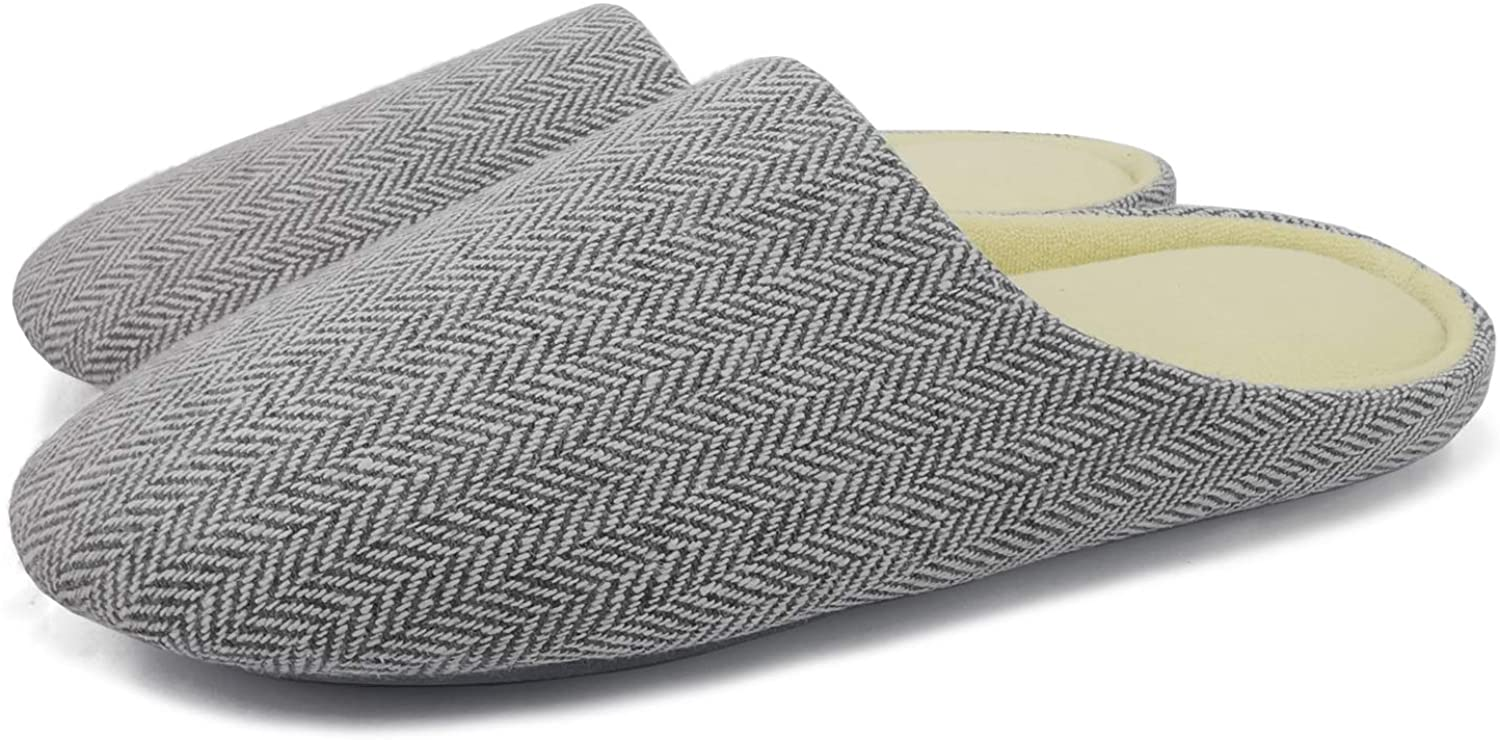 ofoot Mens Cozy Memory Foam House Slippers Narrow Width Cotton Terry Lined Non Skid Rubber Soled Open Back Slip On Shoes