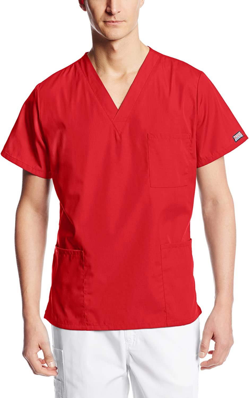 Cherokee Workwear Originals Unisex V-Neck Scrub Top, 2XL, Red
