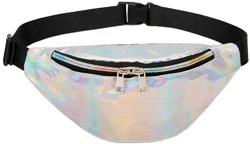 Auony Holographic Fanny Pack for Women, Waterproof Clear Waist Pack Beach Purse with Adjustable Belt for Travel, Beach, Party, Running, Hiking
