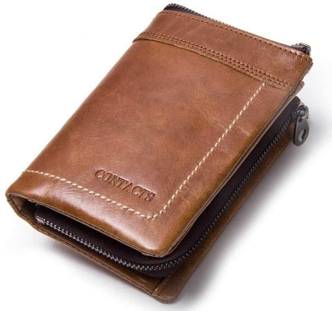 WENNEW Leather Men's Wallet Leather Clutch Wallet Cowhide Vintage Wallet Fashion (Color : Brown)