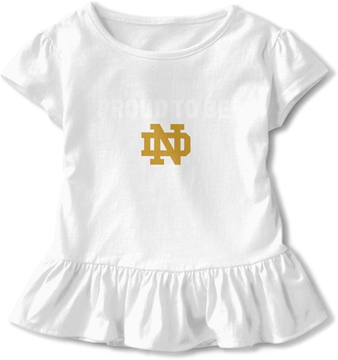 Kids University of Notre Dame Nd Logo Toddler Short Sleeve T Shirt Children Girls Cotton Graphic Tee Soft Dress (2-6T)