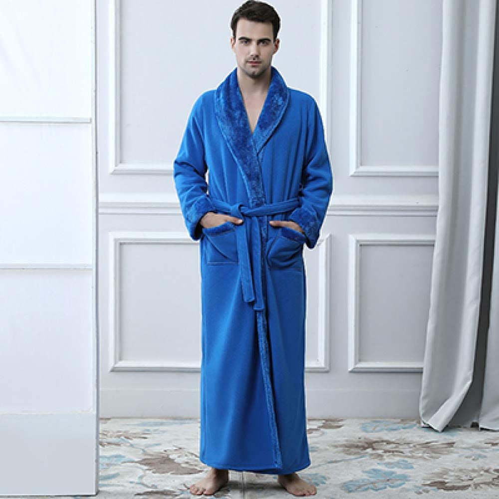 llwannr Bathrobe Robe Nightgown Sleep,Men Winter Extra Long Thick Warm Shawl Collar Bath Robe Mens Thermal Flannel Bathrobe Male Coral Nightgown,Fur Dark Blue Men,L