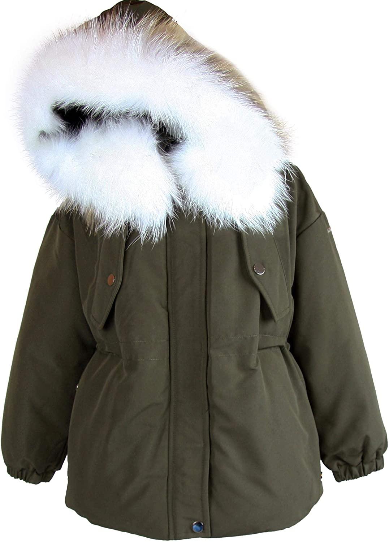 Lisa Rella Girls Dark Olive Goose Down Parka with Real Fur Trim, Sizes 7-16
