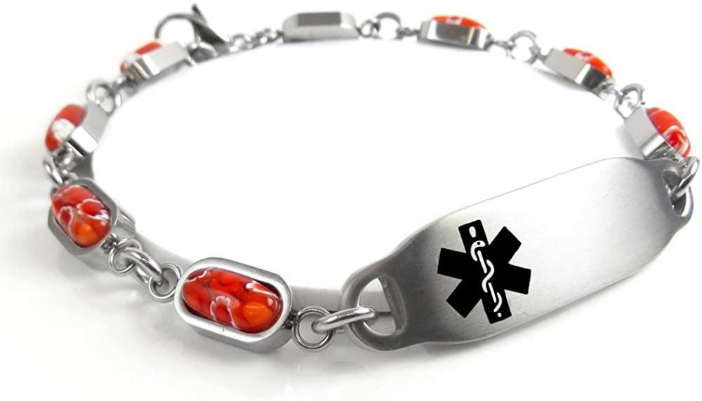 My Identity Doctor - Pre-Engraved & Customized Penicillin Allergy Alert Bracelet, Red Millefiori Glass, Black
