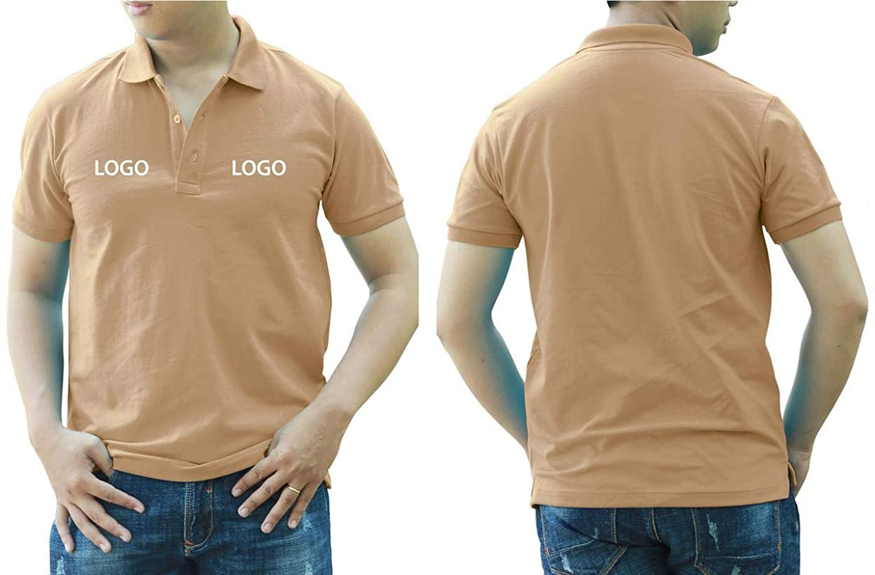 Add Your Logo Text Design Image Picture. Custom Polo. Personalized Polo. Printed On Polo & T-Shirt Uniform with Multi Sides. International Pack of 10 Coffee