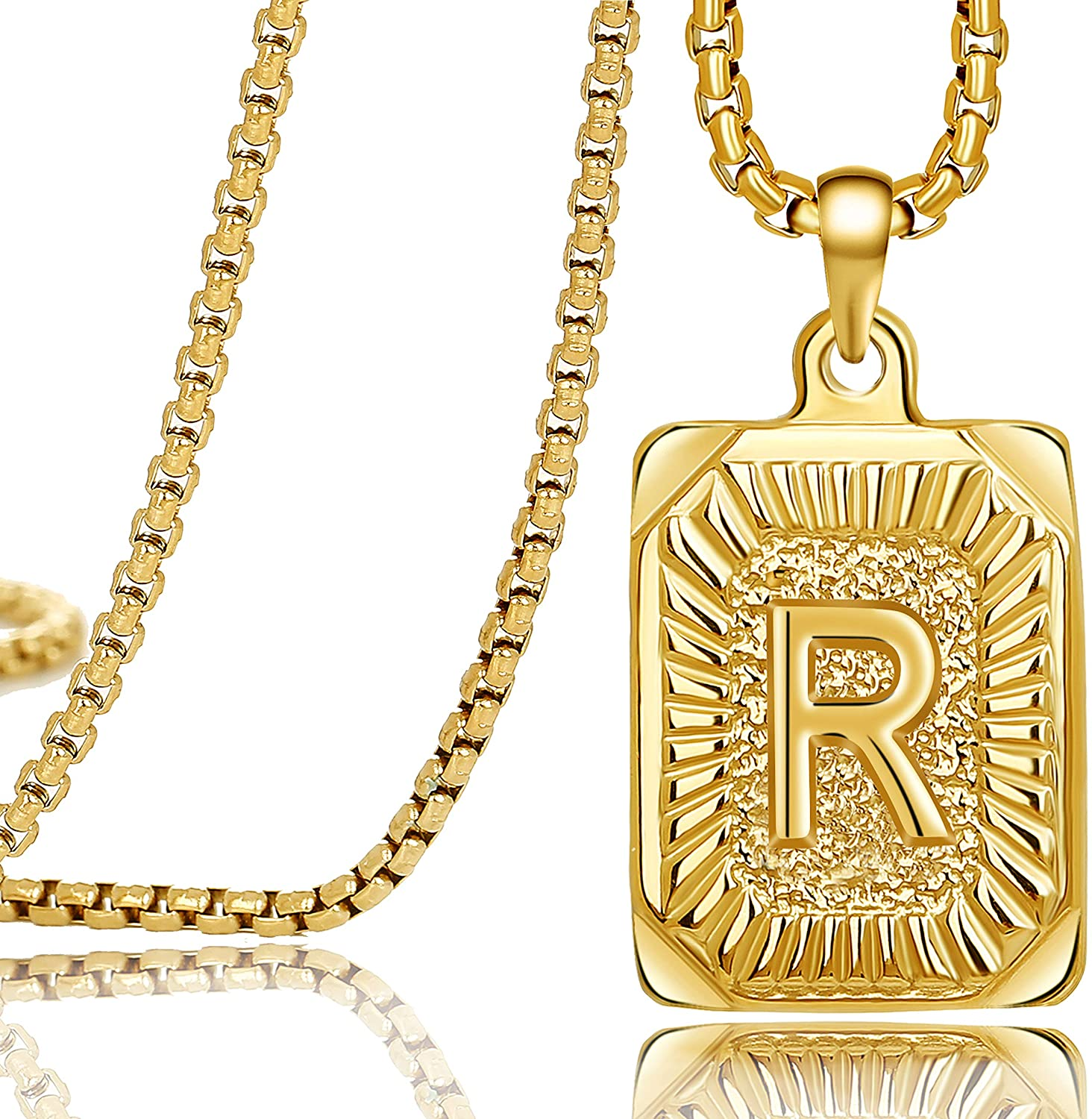 MEMGIFT 18K Real Yellow Gold Initial Letter Men Necklace Rectangle Capital Pendant Monogram A-Z Stainless Steel Box Chain 22inch Unique Trendy Fashion Handmade Fancy Personalized Women Jewelry