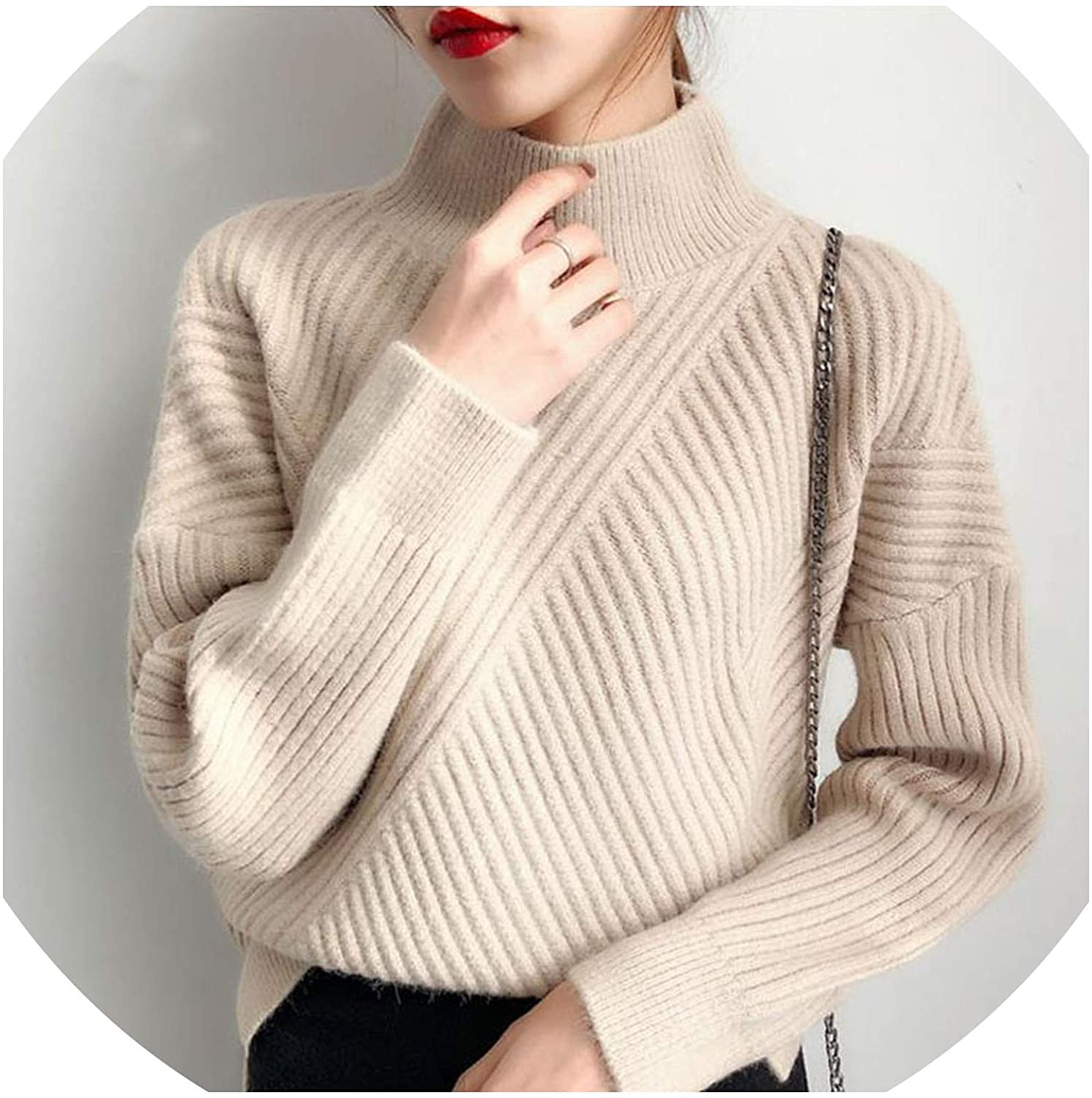 Thick Turtleneck Sweater Women Winter Vogue Pullover Loose Knitted Sweater Jumper