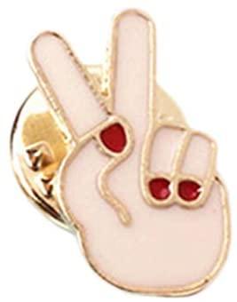 Harva Brooches - 2017 Creative Design Ok Scissors Gestures Drip Oil Shape Brooch Brooch Corsage Funny Pins Brooch - (Metal Color: 3)