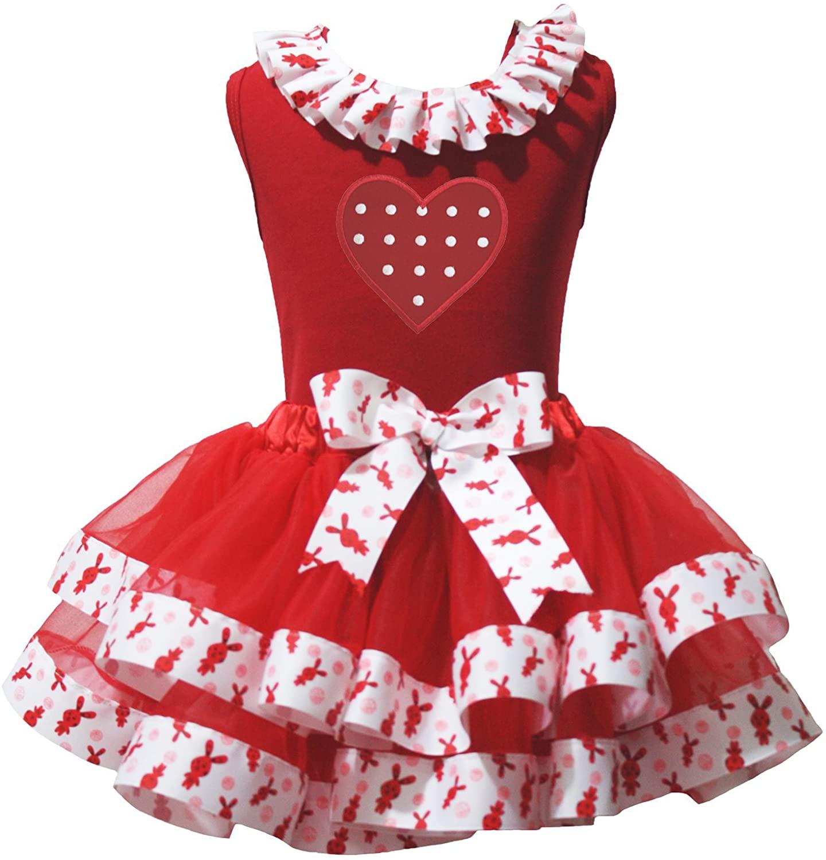 Easter Dress Polka Dots Heart Red Shirt Rabbits Ribbon Red Petal Skirt Set Nb-8y