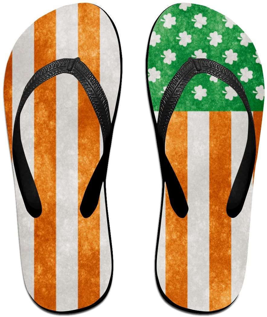 LzVong Irish American Grunge Flag Flip Flops Beach Slippers Flat Sandals