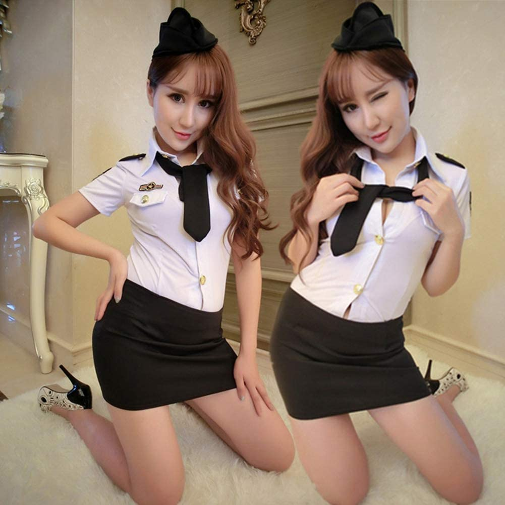 Dishykooker Sexy Lingerie Costume Women Sexy Police Officer Uniform Cosplay Erotic Apparel (White;S)