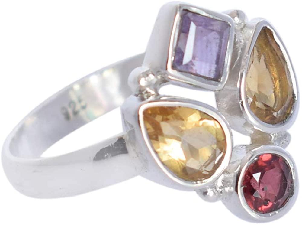 Ravishing Impressions Excellent Quality Citrine,Garnet Amethyst Gemstone 925 Solid Sterling Silver Ring Sz 8, Ring Fo Girls, Handmade Ring Jewellery, SG-198C