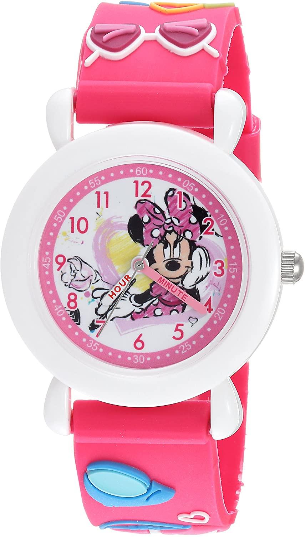 DISNEY Girls Minnie Mouse Analog-Quartz Watch with Plastic Strap, Pink, 16 (Model: WDS000390)