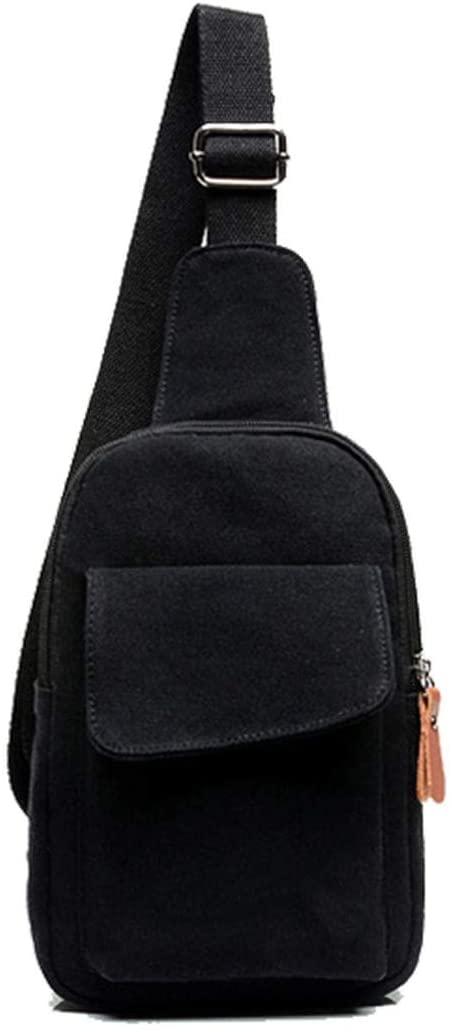 Canvas Men Chest Pack Single Shoulder Strap Back Bag Crossbody Bags for Women Sling Shoulder Bag Back Pack Travel,black