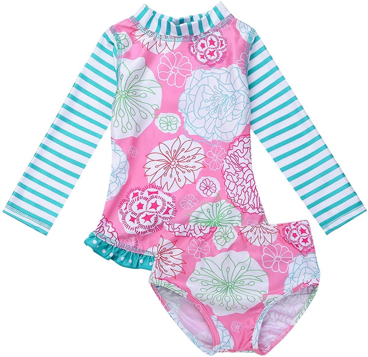 TiaoBug Kids Girls Separates Two-Piece Long Sleeves Rash Guard Sun Protection Swimsuit Swimwear Wetsuit UPF 50+