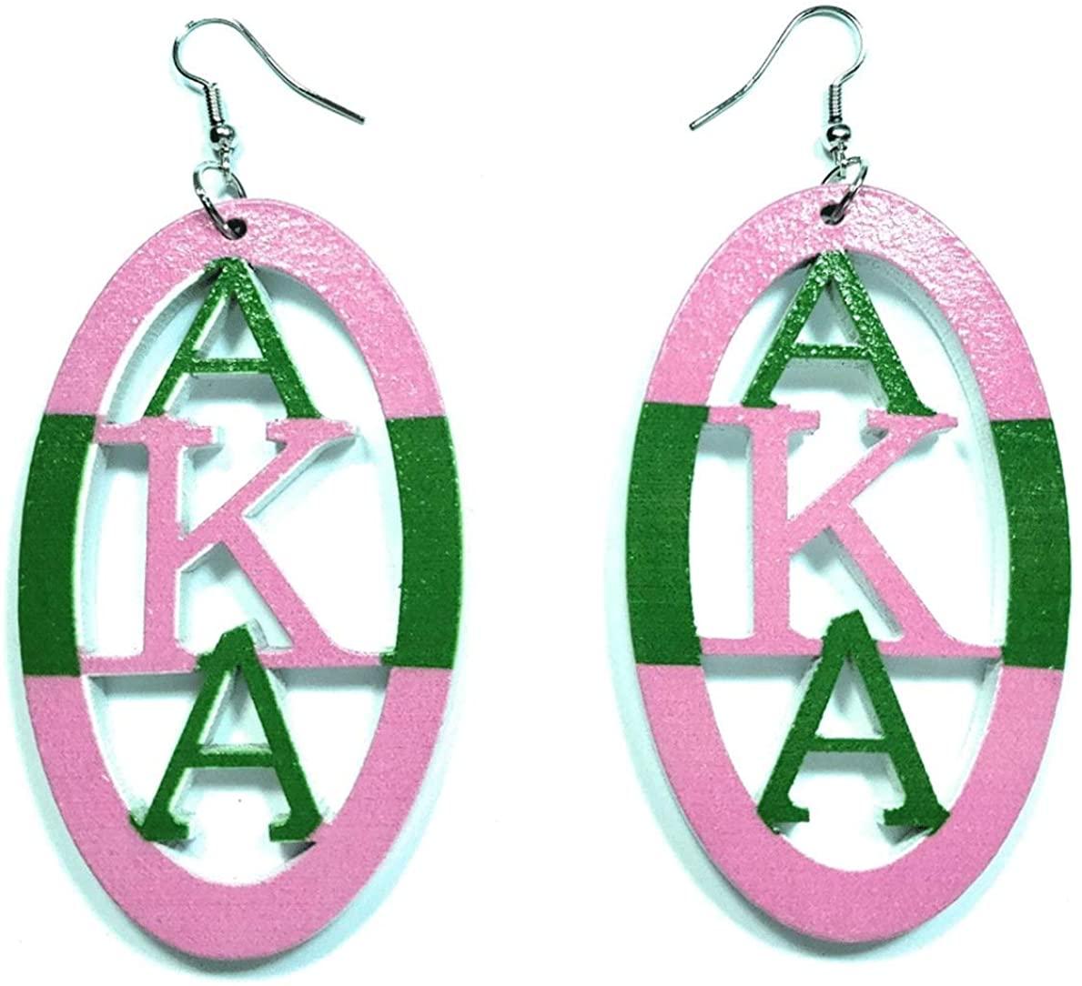 AKA Sorority Alpha Kappa Alpha Pink Green Black Women Girls Fashion Jewelry Paraphernalia Dangle Earrings