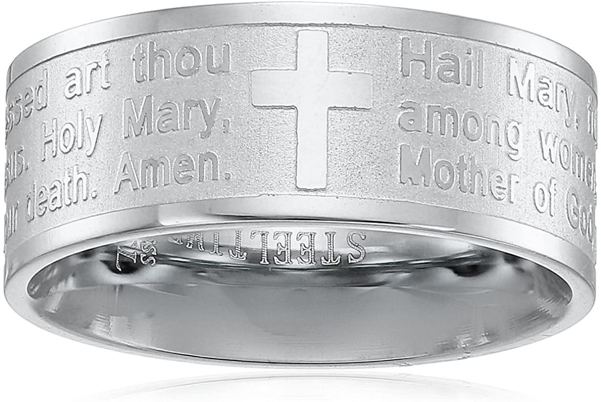 Steeltime Stainless Steel Serenity Prayer Band Ring